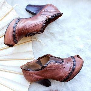 Anthropologie Leather Heeled Peeptoe Booties,Sz 40